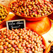 Colorful olives on French market, Chalon sur Saone, France — Stock Photo #24840361