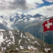 Aerial View of Bernina Mountain Range in Summer with Swiss Flag — Stock Photo