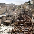 Stock Photo: Old Tannery in Fes, Morocco, Afric(wide panoramic view)