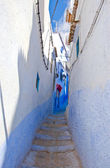 Blue Colored and Narrow City Streets of Chefchaouen, Morocco — Stock Photo