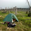 Green Tent in the Alpine Landscape of Krkonose National Park - Photo