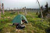 Green Tent in the Alpine Landscape of Krkonose National Park — Stock Photo
