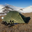 Stock Photo: Tent in Tundrin Svalbard Archipelago in Arctic