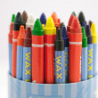 Colorful Wax Crayons in The Cup on The White Background — Stock Photo #21500087