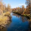 Stock Photo: Colorful Autumn River With in Wild Woods