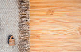 A sackcloth and wood textured — Stock Photo
