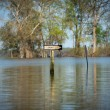 Sign in flood waters - Stock Photo