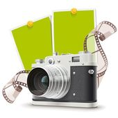 Old photo camera collage — Stock Vector