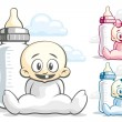 Babies and feeding bottle — Stock Vector