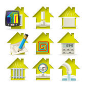 Heating Home Icons — Stock Vector