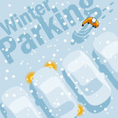 Winter parkeren — Stockvector