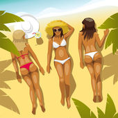 Three Girls on the Beach — Stock Vector