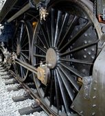 Szczegóły zabytkowej lokomotywy duże koła — Zdjęcie stockowe