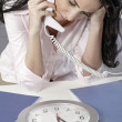Concept of woman with work deadline — Stock Photo