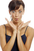 Woman with funny face — Stock Photo