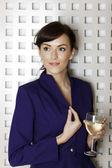 Woman enjoying a glass of wine — Stock Photo