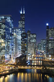 Chicago at night. — Stock Photo