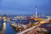 Aerial view of Berlin during twilight blue hour. — Stock Photo