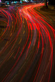 Moving car with blur light on street — Stock Photo