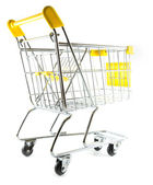 Back view shopping cart on white background — Stock Photo