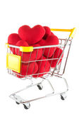 Many red hearts in shopping cart — Stock Photo