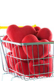 Red heart in shopping cart concept — Stock Photo