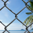 Wire mesh on seaview background — Stock Photo