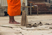 Monk with broom leaf — Stock Photo