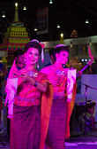 Two women dance thailand northeast culture style — Stock Photo