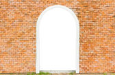 Empty white space of door on wall brick in horizontal — Stock Photo