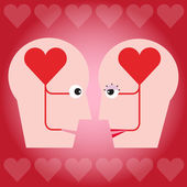 The couple with heart in head concept — Stock Vector
