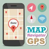 Navigator-konzept-smartphone mit symbol — Stockvektor