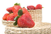 Red strawberry on basket — Stock Photo