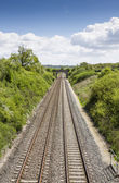 Two railway tracks viewed from above — Stock Photo