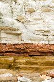 Red and white sandstone and chalk cliffs at Hunstanton,Norfolk,E — Stok fotoğraf