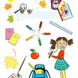 Girl back to school — Stock Vector