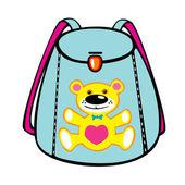 Sac d'école fille bleu avec ours — Vecteur