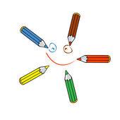 Five pencils — Stockvektor