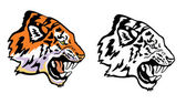 Tiger head profile view — Stock Vector