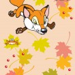Childish fox playing with leaves and frogs — Stock Vector