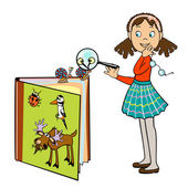 Little schoolgirl by book of animals — Stock Vector