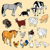 Conjunto de animales domésticos — Vector de stock