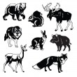 Set of forest animals black and white — Vector de stock