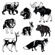 Set of forest animals black and white — Stockvektor