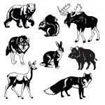 Satz von Wald Tiere schwarz und weiß — Stockvektor