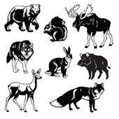 Conjunto de animales bosque blanco y negro — Vector de stock