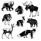 Set of forest animals black and white — Vecteur