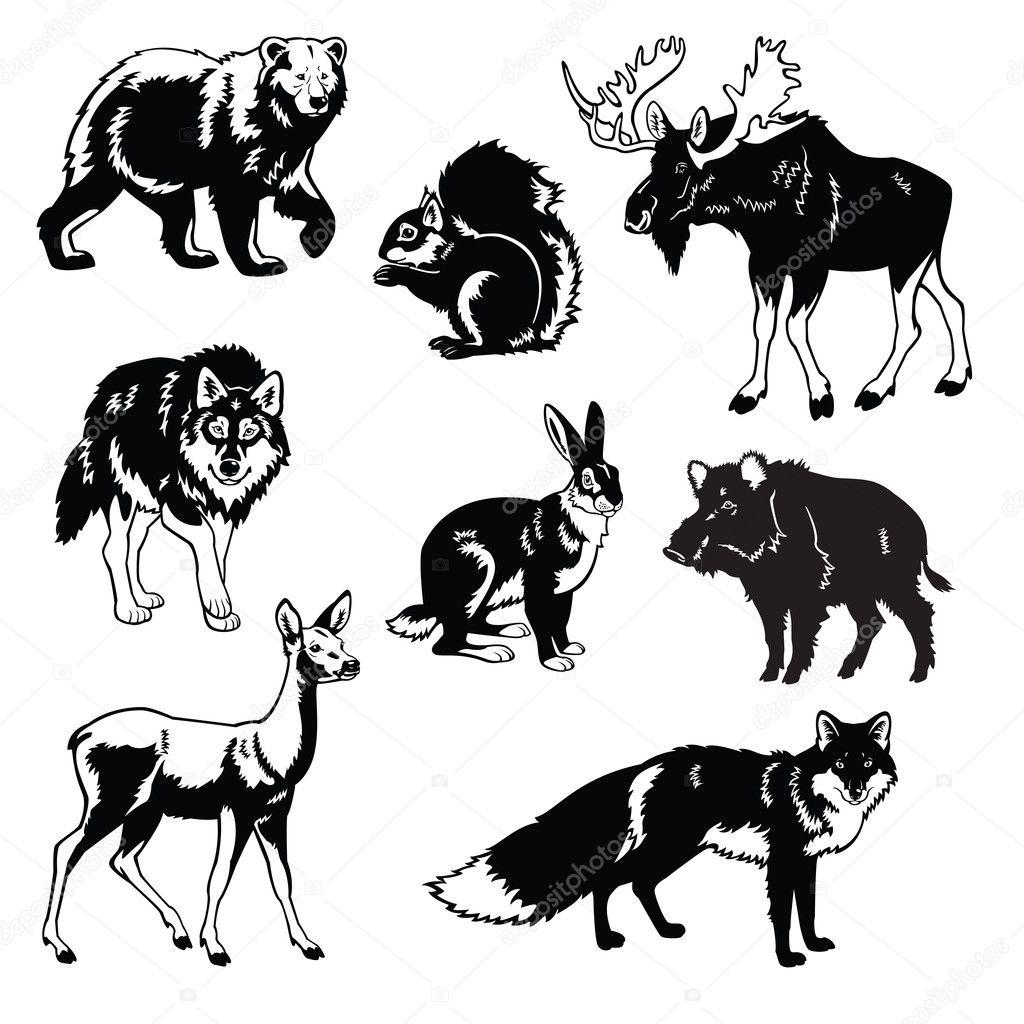 Чёрные рисунки животных
