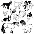 Stock Vector: Set with domestic animals black and white images