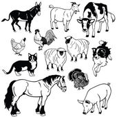 Set with domestic animals black and white images — Stock Vector